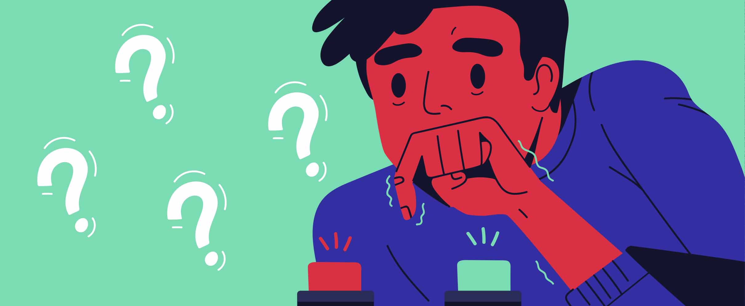 Cartoon of a nervous looking guy trying to decide between two buttons.