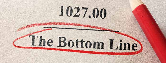 The words 'bottom line' underlined in red
